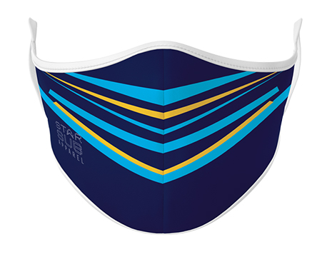 Face Mask - Navy, Light Blue & Yellow