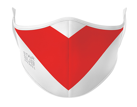 Face Mask - Red V on White