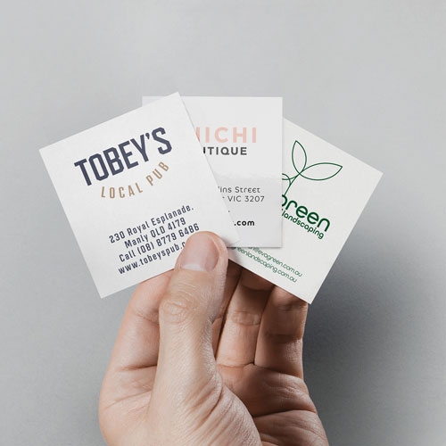 Business cards square printed examples
